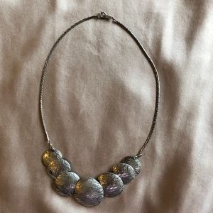 Vintage textured silver disc choker necklace